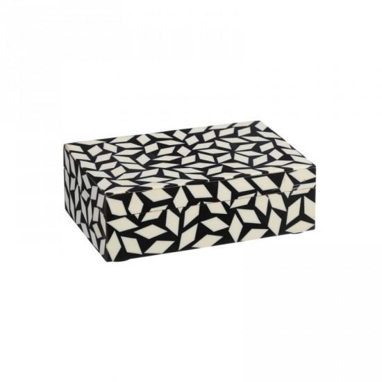 "Cajita hueso ""osso"" negro-blanco 15 x 10 cm"