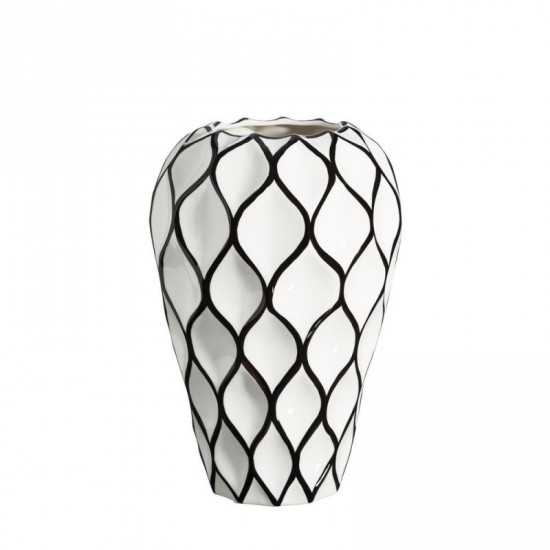 Jarrón de cerámica rombos blanco-negro 22 x 34 cm