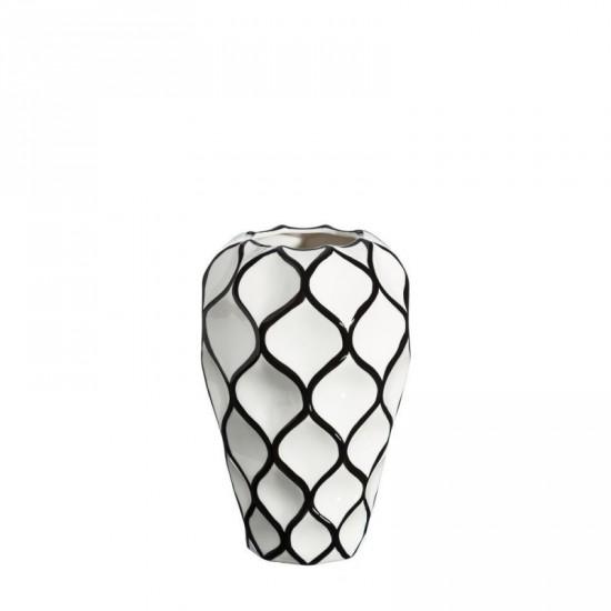 "Jarrón cerámica ""sanges"" blanco-negro 26 cm"