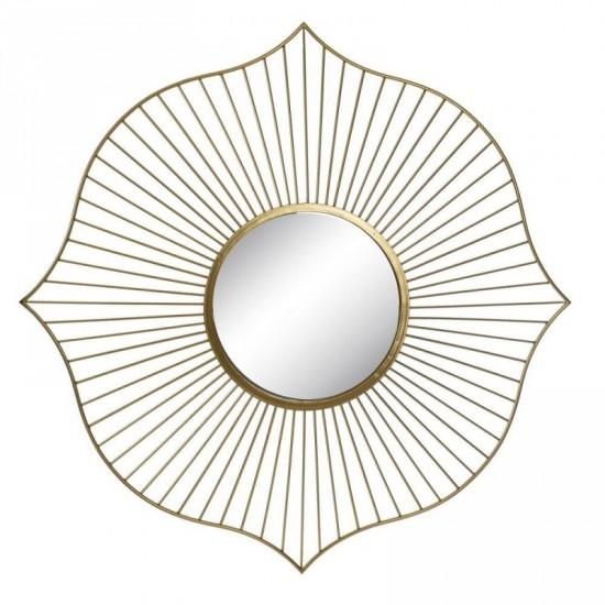 Espejo de metal color oro 119 x 119 cm