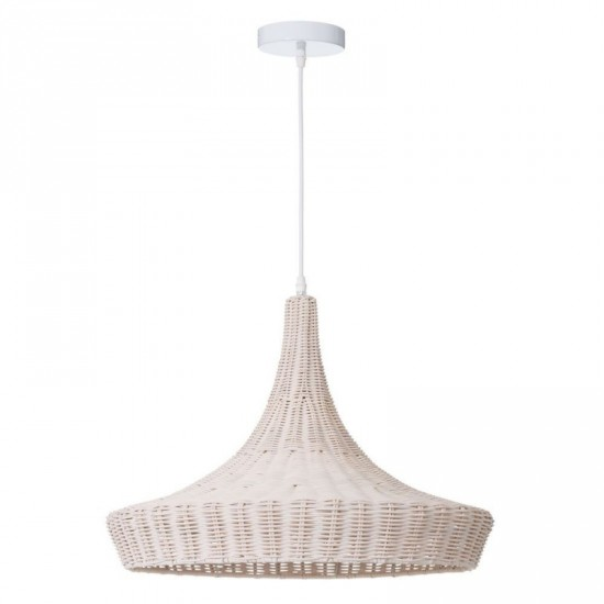 """Lámpara techo ratán """"mezi"""" blanco 51 x 43 cm"""