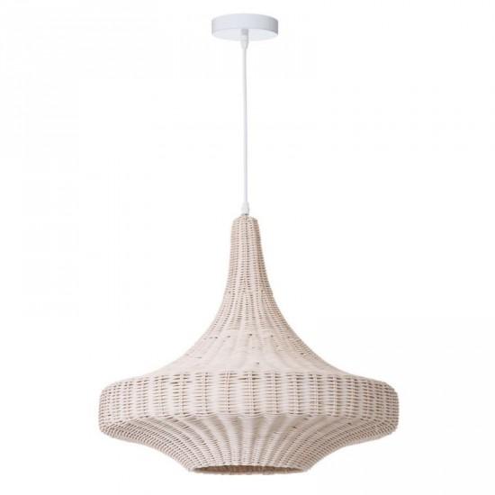 """Lámpara techo ratán """"mezi"""" blanco 52 x 50 cm"""