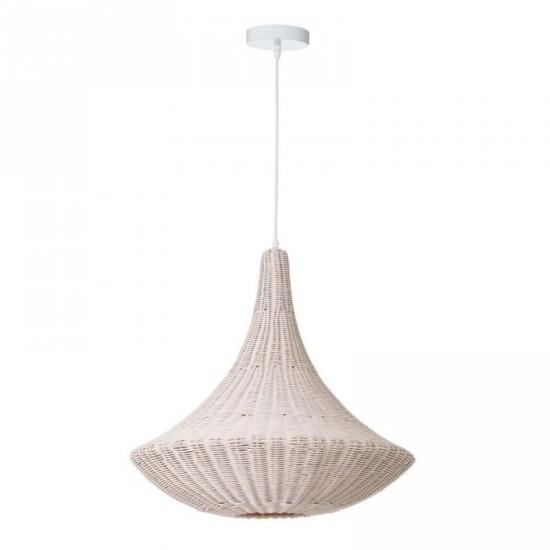 """Lámpara techo ratán """"mezi"""" blanco 58 x 63 cm"""
