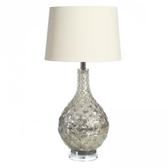 Lámpara de mesa de cristal y lino color plata 78 cm