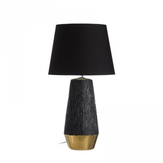 Lámpara mesa cerámica color negro-oro 60 cm estriada