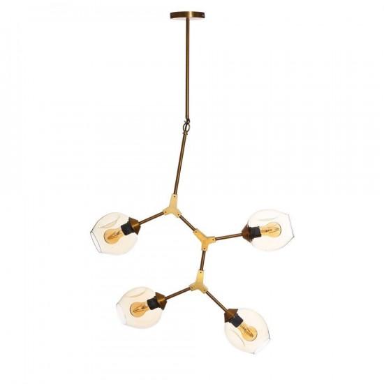 """Lámpara techo metal-cristal """"odda"""" bronce 80 x 130 cm"""