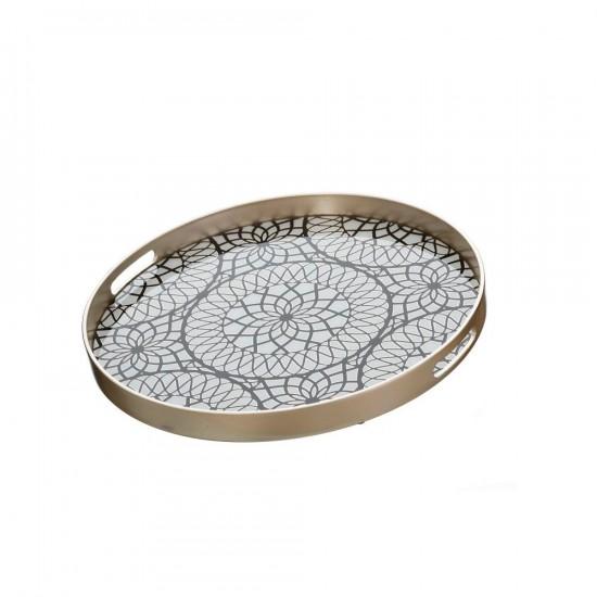 Bandeja redonda en plata y negro con ornamentos