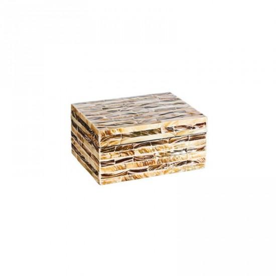 "Caja nácar ""luzzi"" marrón-crema 20 x 10 cm"