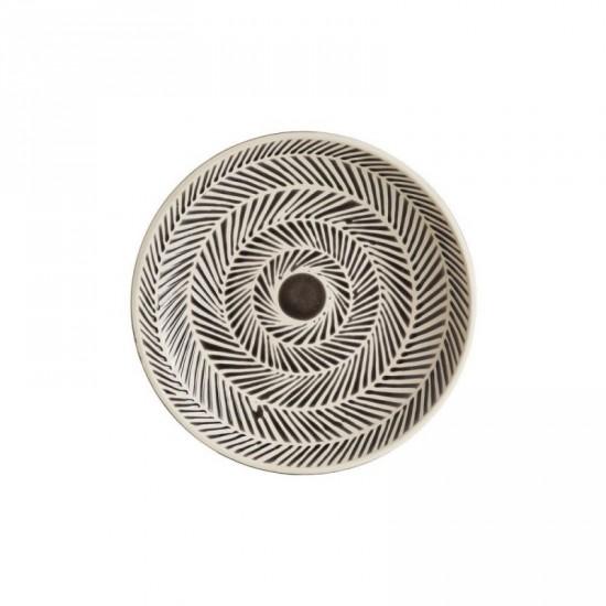 """Centro mesa cerámica """"lines"""" gris-blanco 36 x 36 cm"""