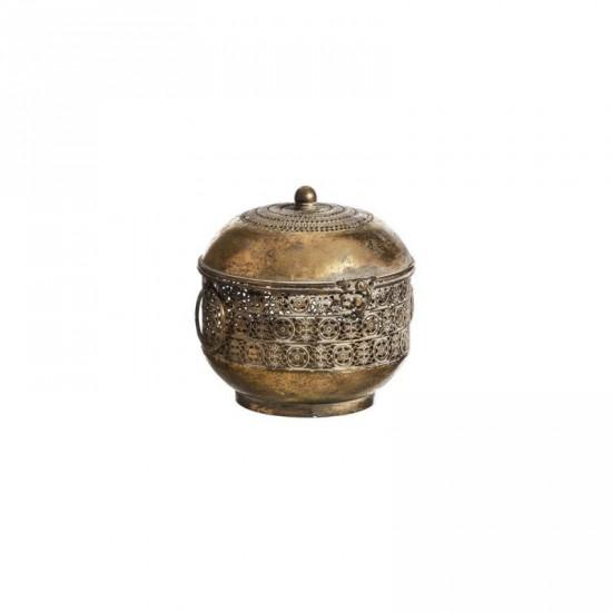 "Caja hierro ""etnic"" oro envejecido 19 x 18 cm"