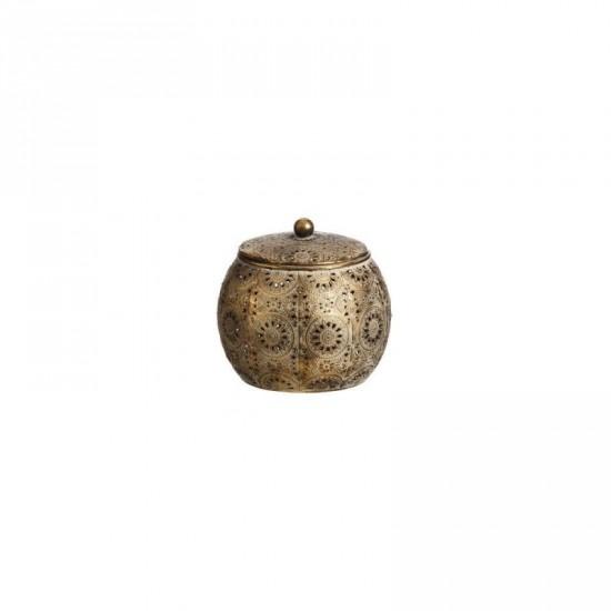 "Caja hierro ""etnic"" oro envejecido 15 x 15 cm"