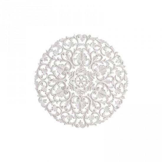 Mural talla en madera color blanco rozado 60 x 60 cm árabe