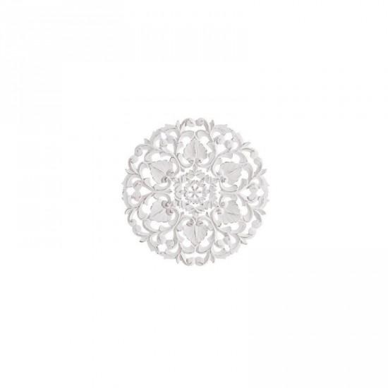 Mural talla en madera color blanco rozado 40 x 40 cm árabe