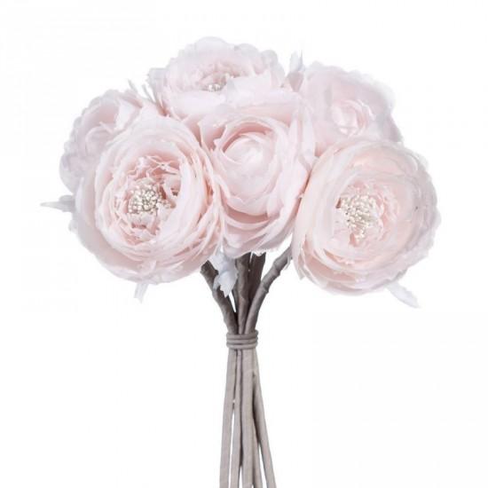 Ramo flores rosas color rosa palo 32 cm