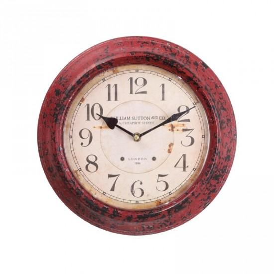 Reloj pared de metal color blanco-rojo 30 x 30 cm