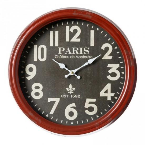 Reloj pared de metal color rojo retro 38 x 38 cm