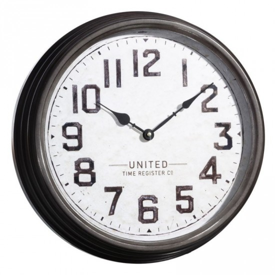Reloj pared de metal-cristal color gris 38 x 38 cm