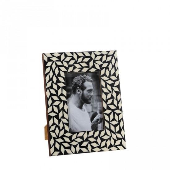 Portafotos 10x15 de hueso color negro-blanco estilo étnico
