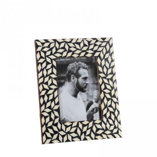 Portafotos 13x18 de hueso color negro-blanco estilo étnico