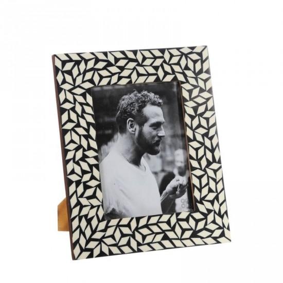 Portafotos 15x20 de hueso color negro-blanco estilo étnico