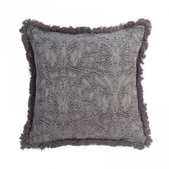"Cojín ""trenz"" gris 45 x 45 cm ornamental"