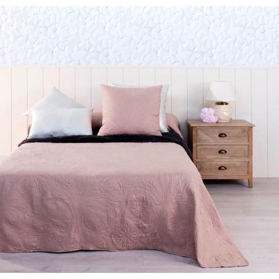 """Colcha bouti """"prime"""" bordada color rosa palo 240 x 260 cm"""