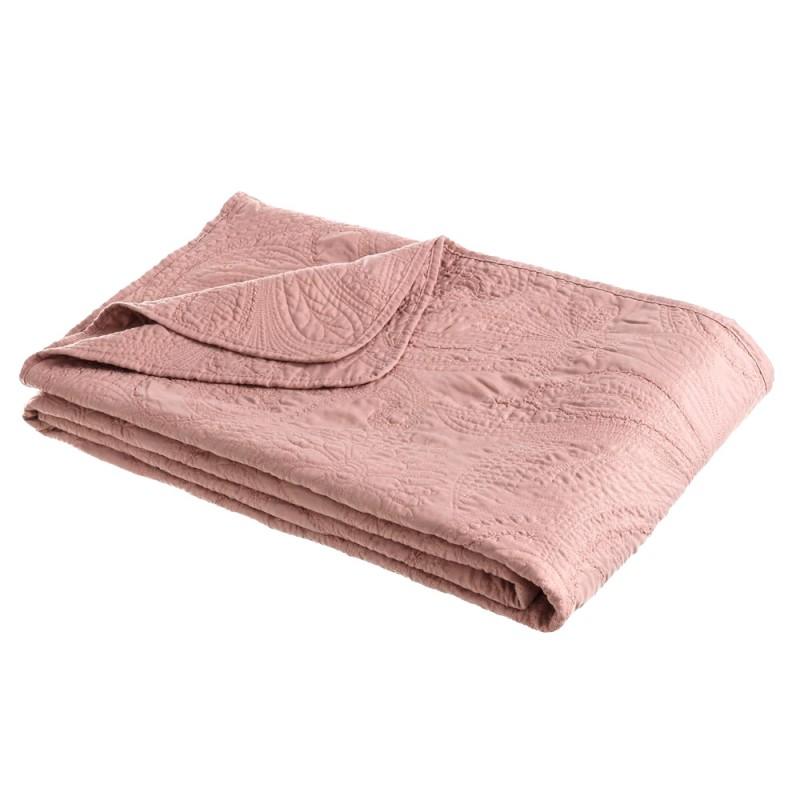 Colcha bouti bordada prime rosa palo 180 x 260 cm Ibele Home