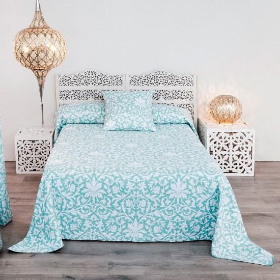 Colcha bouti etnic azul y blanca 240 x 260 cm Ibele Home