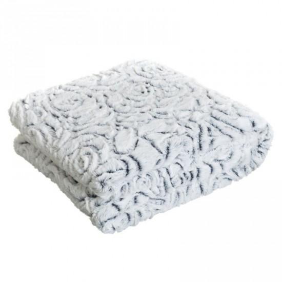 """Manta""""flower"""" color blanco-gris 130 x 170 cm"""