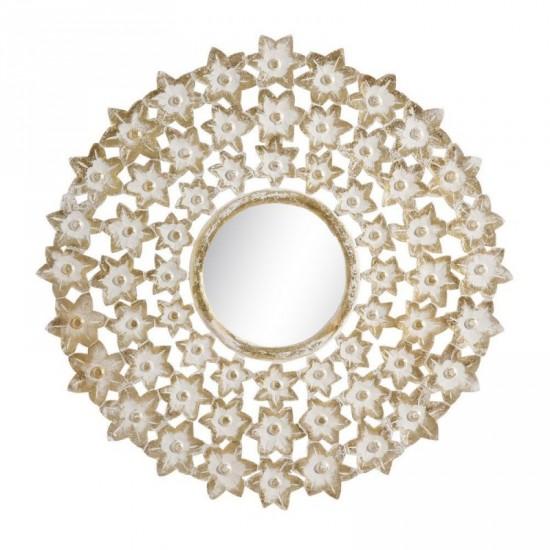 """Talla espejo """"mocca"""" blanco-oro 90 x 90 cm"""