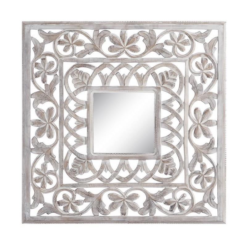Talla espejo lailah blanco rozado 90 x 90 cm ibele home for Espejo grande blanco