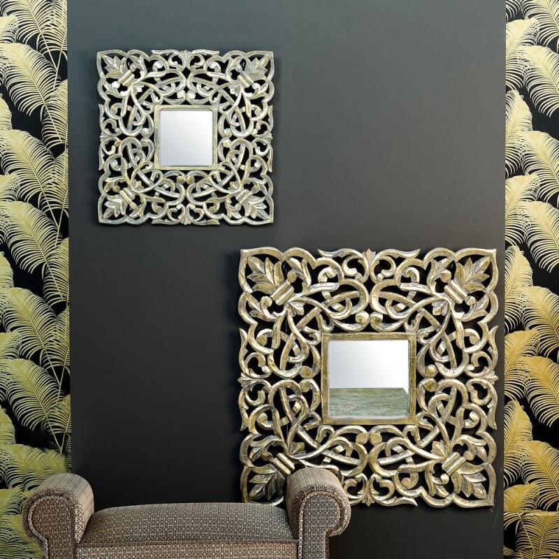 Talla espejo lailah oro envejecido 60 x 60 cm ibele home for Espejo 60 x 120