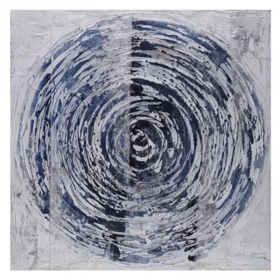 Pintura a mano círculos azul 100 x 100 cm