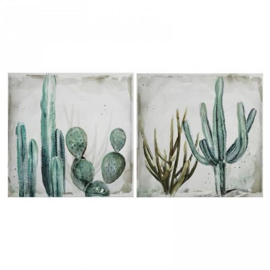 Juego dos fotolienzos cactus verde 30 x 30 cm