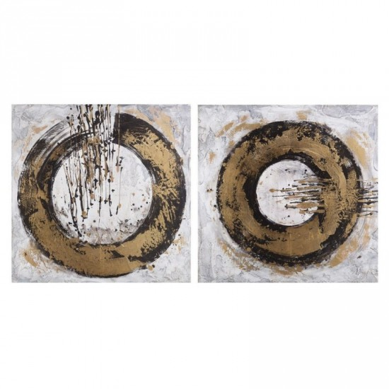 Juego dos pinturas a mano oro 100 x 100 cm