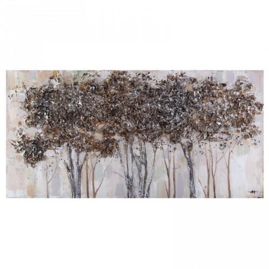 Pintura a mano arboleda plata 140 x 70 cm