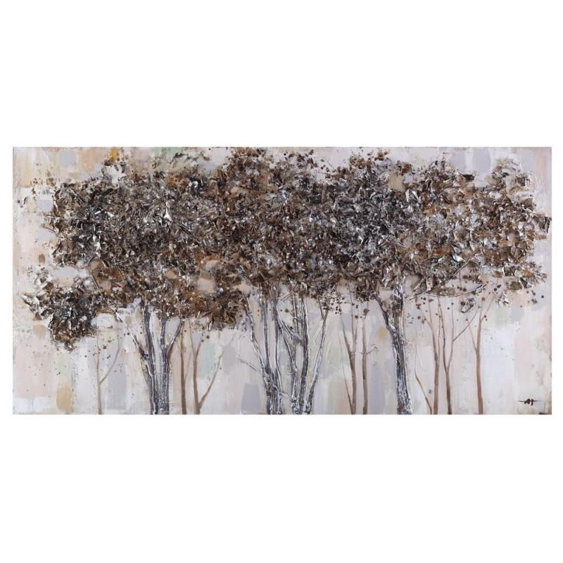 Lienzo pintado a mano al óleo de arboleda color plata, de 140 x 70 cm