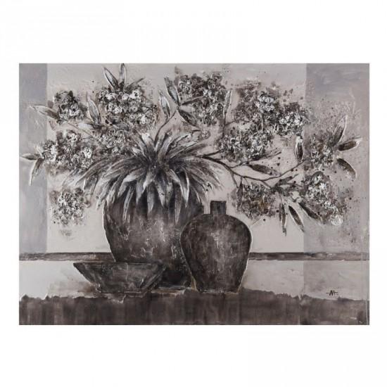 Pintura a mano jarrón gris 120 x 90 cm