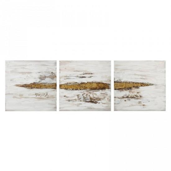 Juego de tres pinturas a mano blanco-oro 60 x 60 cm