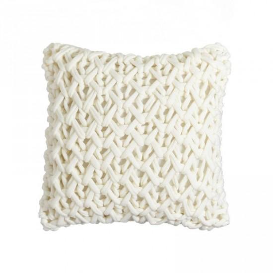 """Cojín crochet """"verona"""" blanco 45 x 45 cm"""