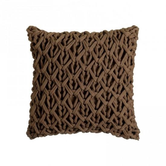"""Cojín crochet """"verona"""" marrón 45 x 45 cm"""