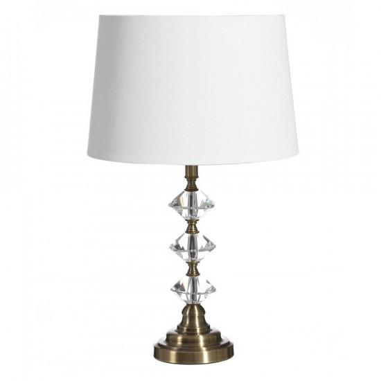 Lámpara de sobremesa de cristal-metal color oro 70cm