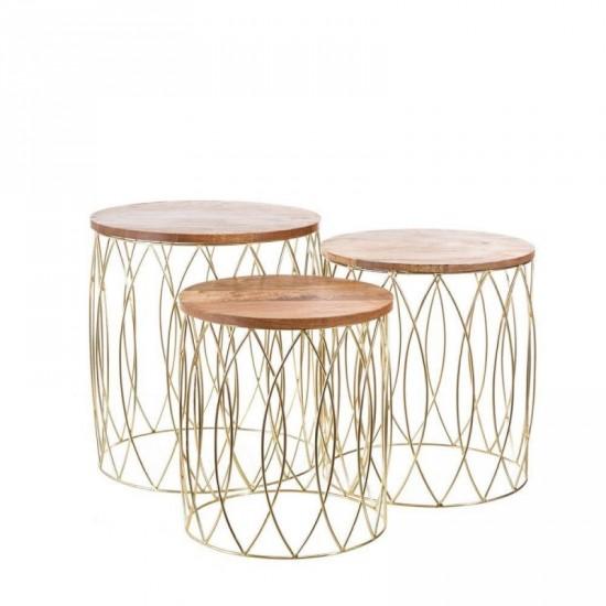 Juego de tres mesas madera y metal oro 50 x 63 cm