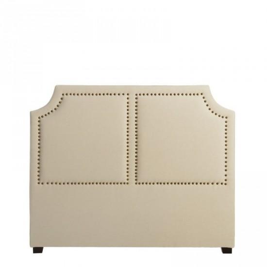 Cabecero crema tejido-madera clásico 160 x 8 x 130 cm