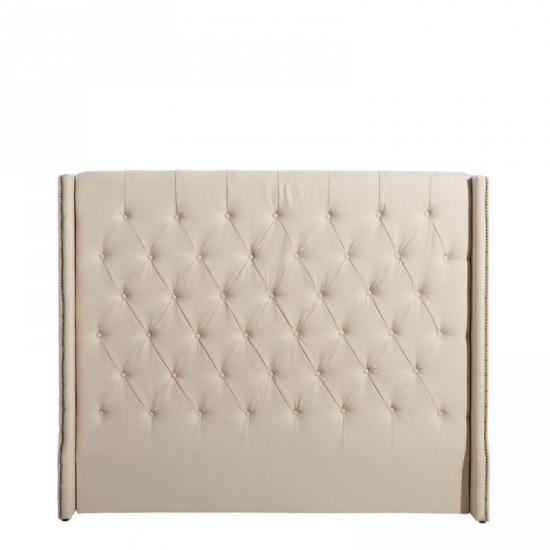 Cabecero capitoné tejido-madera crema 172 x 140 cm