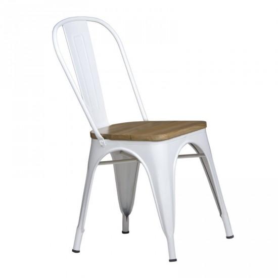 Silla volter blanca asiento madera ibele home for Silla madera blanca
