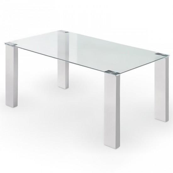 """Mesa """"matte"""" cristal blanca 160 cm"""