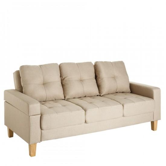 Sofá 3 plazas cama beige 195 x 93 x 88 cm