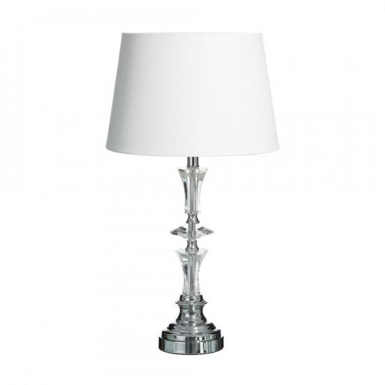 Lámpara mesa cristal y lino color plata 87 cm