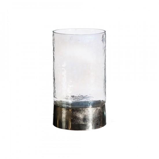 """Portavelas vidrio """"antique"""" plata 26 cm"""